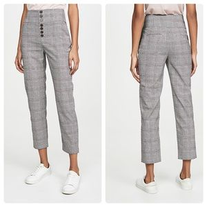 Joie Abony Pants in Caviar High Rise Plaid Cropped
